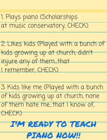 Piano teacher checklist